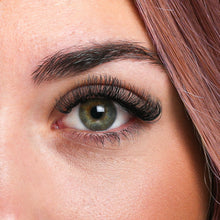 Load image into Gallery viewer, Closeup of eyelash extension look with Smart Volume Eyelash Extensions applied