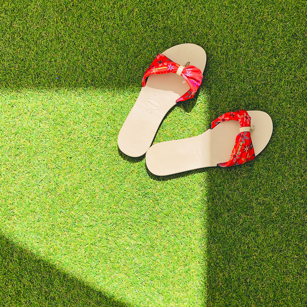 sandals on a lawn