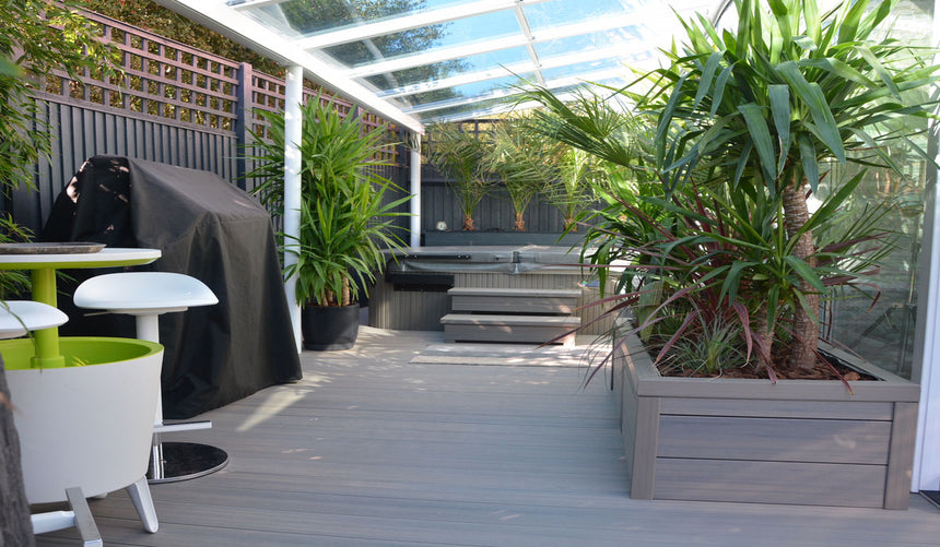 composite decking boards greenhouse summer house