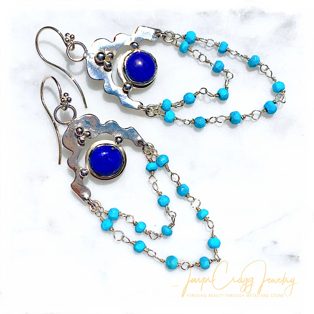 Argentium Silver Lapis Lazuli and Turquoise Chandelier Earrings