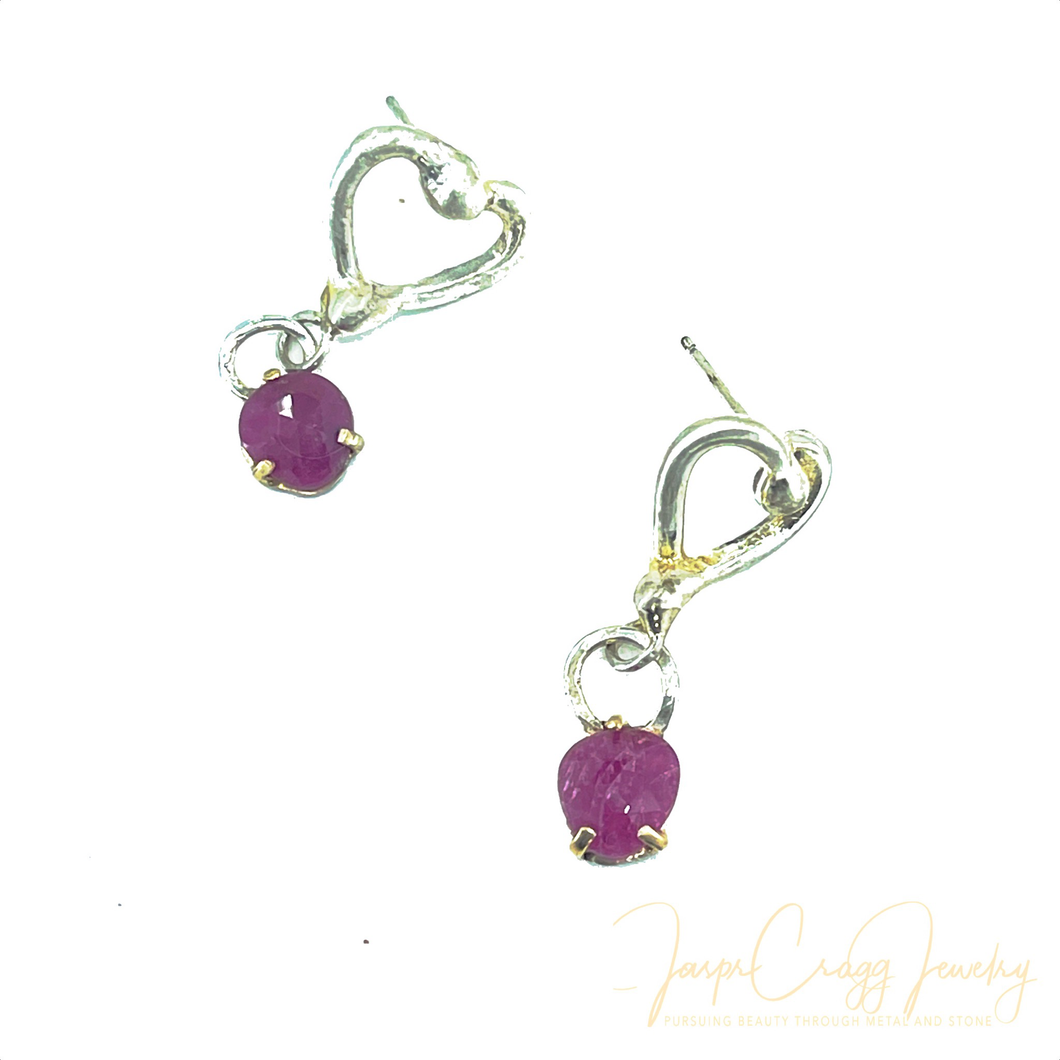 Argentium Silver Open Heart Ruby Earrings