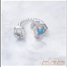 Load image into Gallery viewer, Argentium Silver Water-Cast Turquoise Beaded Ring