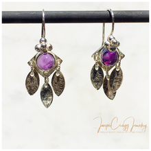 Load image into Gallery viewer, Argentium Silver Amethyst Cabochon Drop Dangle Earrings