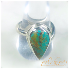 Load image into Gallery viewer, Argentium Silver Pear Turquoise Ring