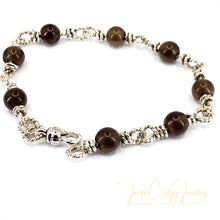 Load image into Gallery viewer, Argentium 935 Silver Handmade Smoky Quartz Chain Link Bracelet