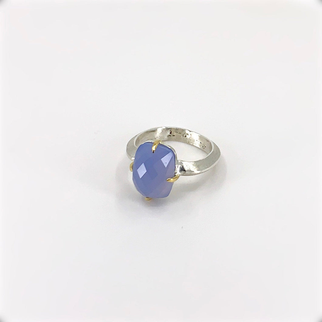 Argentium Silver and 18kGold Faceted Blue Chalcedony Ring
