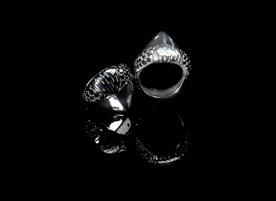 Bird Ring with Black Diamonds