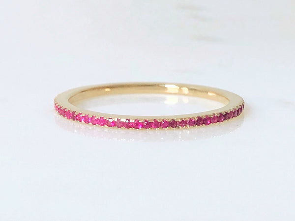 Belda Ring - Pavé Ruby Eternity Band