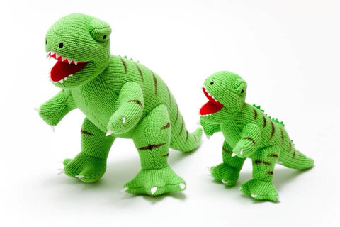 0996 Large Knitted Green T Rex Dinosaur