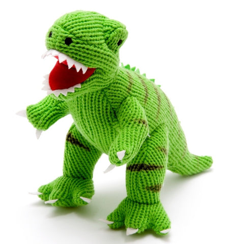 0998 Knitted Green T Rex Dinosaur Toy