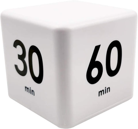 Cube Timer, Kitchen Timer Child Timer Exercise Timer Gravity Sensor flip Timer for Time Management and Countdown Settings (15-20-30-60 Minutes, White)