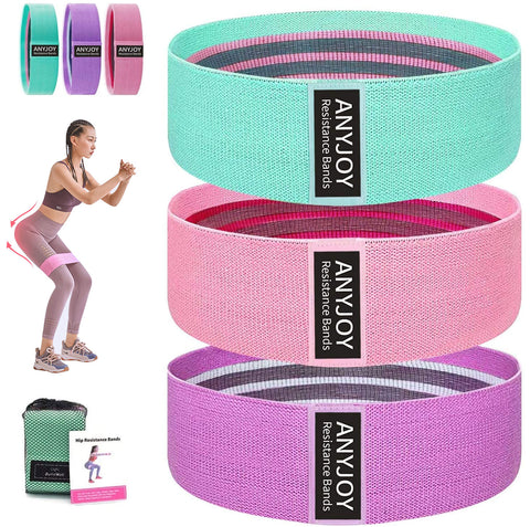 ANYJOY Resistance Bands for Women Butt and Legs, Fabric Exercise Bands , Thick Wide Non-Slip Workout - Sports Bands, Women/Men Stretch Booty Band 3 Set Leg Weights for Exercise