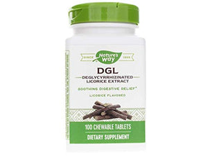 Nature's Way Nature's Way Dgl 3:1 (deglycyrrhizinated Licorice) Digestive Relief, Original, 100 Chewables, Licorice Flavored, 100 Count