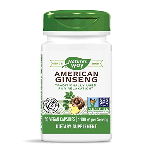 Nature's Way Premium Herbal American Ginseng, 1,100 mg per Serving, 50 Capsules