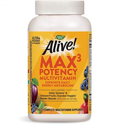 Nature's Way Alive! Max3 Daily Adult Multivitamin, Food-Based Blends 180 Tablets