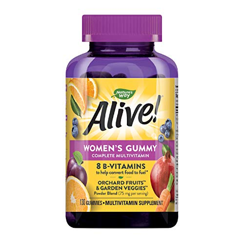 Nature's Way Alive! Women's Gummy Multivitamin, Fruit & Veggie Blend (75Mgper Serving), Full B Vitamin Complex, Gluten Free, made With Pectin, 130 Gummies