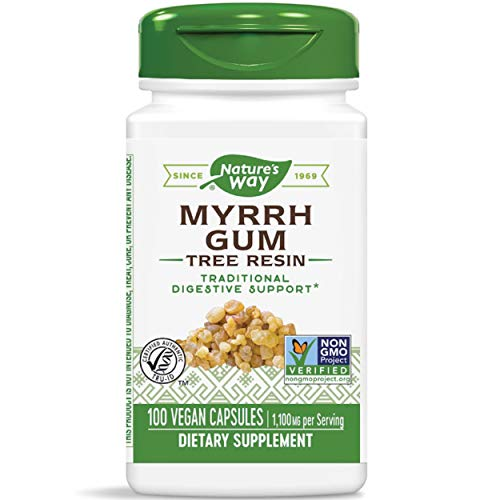 Nature's Way Myrrh Gum Tree Resin, 1,100 mg per serving, 100 Capsules (Packaging May Vary)