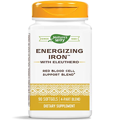 Nature's Way Energizing Iron w/Eleuthero Dual Iron Formula, 90 Count (Packaging May Vary)