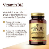 Solgar Vitamin B12 500 mcg, 100 Vegetable Capsules - Energy Metabolism, Nervous System Support, Heart Health - Non-GMO, Vegan, Gluten Free, Dairy Free, Kosher, Halal - 100 Servings