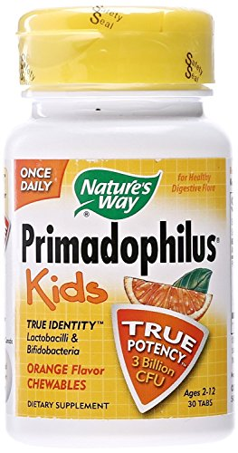 Nature's Way Primadophilus Kids 3 Billion CFU, 30 Orange Flavored Chews (Ages 2-12, Refrigerate to Maintain Maximum Potency), Pack of 3