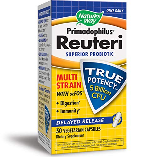 Nature's Way Primadophilus Reuteri, 5 Billion CFU, Superior Probiotic Multi Strain with scFOS, Delayed Release, 30 Capsules