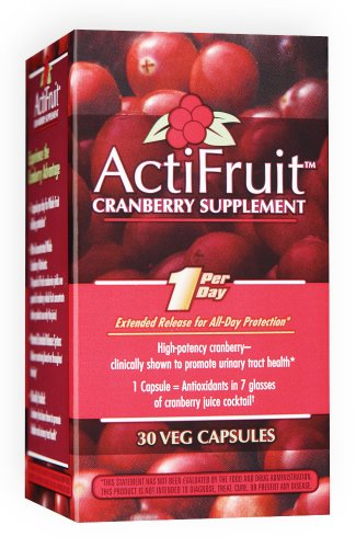 Enzymatic Therapy Actifruit Cranberry Supplement 30 Veg Capsules, Bottle (Pack of 2)
