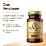 Solgar Zinc Picolinate 22 mg, 100 Tablets - Pack of 3 - Antioxidant, Skin & Immune Support - Non-GMO, Vegan, Gluten Free, Dairy Free, Kosher - 300 Total Servings