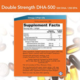 NOW Foods DHA-500 with 250 EPA, Molecularly Distilled, Supports Brain Health*, 180 Softgels