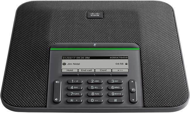 "The Cisco 7832 Multiplatform conference phone delivers high-quality, crystal-clear HD audio conferencing with a microphone pickup range of up to 7 feet and 360° room coverage for conference spaces up to 16 square metres. Featuring a 3.4"" backlit, monochrome, pixel-based display and a large mute button, users can simply manage calls from the device."