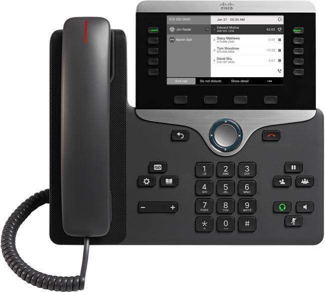 "The Cisco 8811 IP Phone is the entry level model in the 8800 series. It features a large 5"" high resolution, greyscale display for increased productivity as well as wideband audio for crystal clear voice communications. This IP phone supports a built-in Gigabit Ethernet switch and has PoE capabilities."