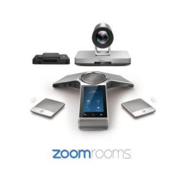 The Yealink CP960-UVC80 Zoom Rooms Kit is designed for medium and large meeting rooms. It is a complete Zoom Rooms package containing a full hardware suite (mini-PC, camera, audio devices) as well as the requisite software and license.