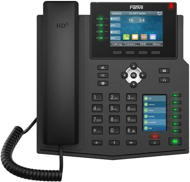"Fanvil's X5U enterprise-level IP phone offers users an affordable device with a 3.5"" colour display, built-in Bluetooth and support for up to 16 SIP accounts. For ease of use, the X5U also features a 2.4"" side display for up to 34 digital label keys which can be accessed through 6 dual-coloured physical keys."