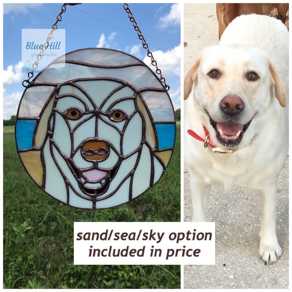 Custom Stained Glass Pet Portrait- 4 weeks production time