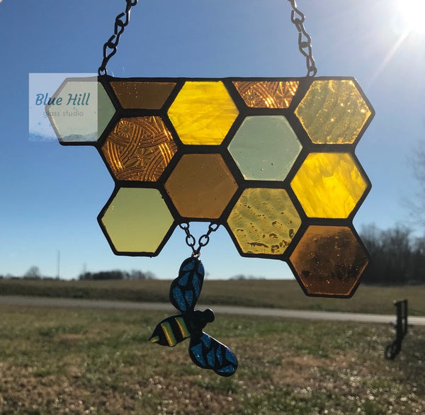 Honeycomb Stained Glass Suncatcher with Dichroic Fused Glass Bee