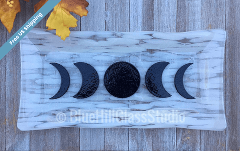 Moon Phases Fused Glass Platter in White Clear and Black Glass - Triple Goddess - Crescent Moon - New Moon - Pagan - Astrology - Lunar Cycle
