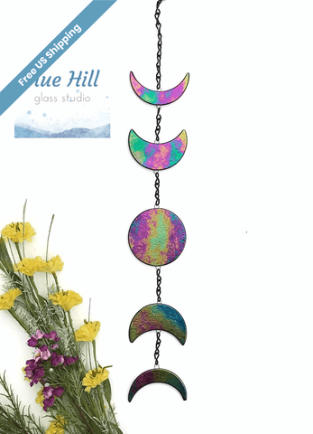 Moon Phases Fused Glass Wall Hanging / Garden Hanging