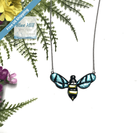 Bee Dichroic Fused Glass Pendant with Stainless Steel Necklace