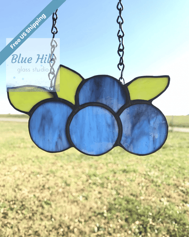 Blueberries Stained Glass Sun catcher - Fruit Series