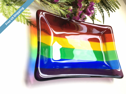 Rainbow Fused Glass Soap - Trinket Dish , Rainbow Flag , Gay / LGBTQ Pride Flag , for soaps, jewelry, kitchen sponge, candles, ring dish