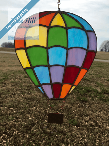 Hot Air Balloon Stained Glass Sun Catcher in a Rainbow of Colors