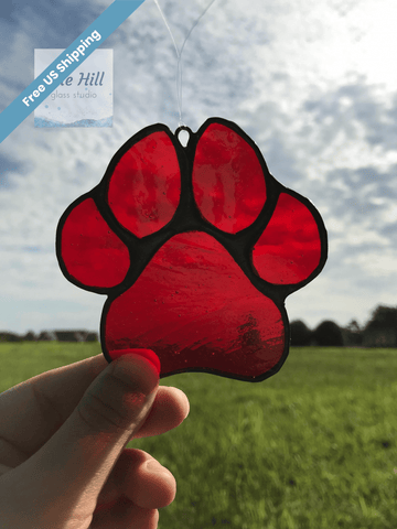 Stained Glass Pet Paw in Multiple Colors - Pet Loss Gift
