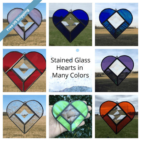 Heart Stained Glass Sun Catcher in Multiple Colors