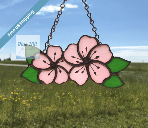 Cherry Blossom stained glass suncatcher in pink and dichroic glass