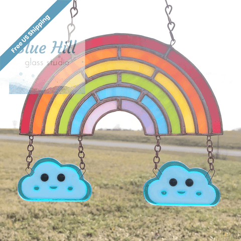 Rainbow and Clouds Stained and Fused Glass Suncatcher