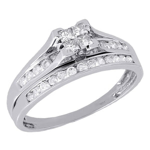 PRINCESSA BRIDAL SET WITH CHANNEL SET BAND: HALF CARAT - XSJewelers