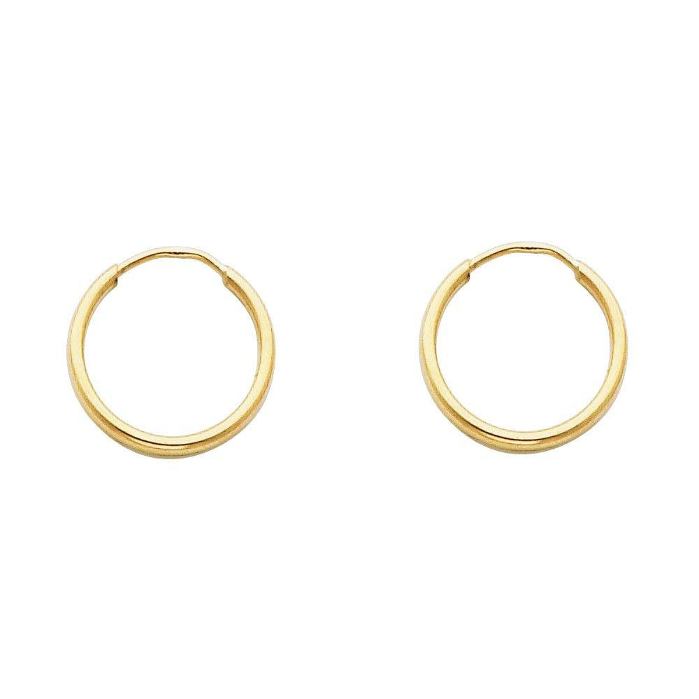 14KT YELLOW GOLD 1.5MM HOOP EARRINGS 15mm