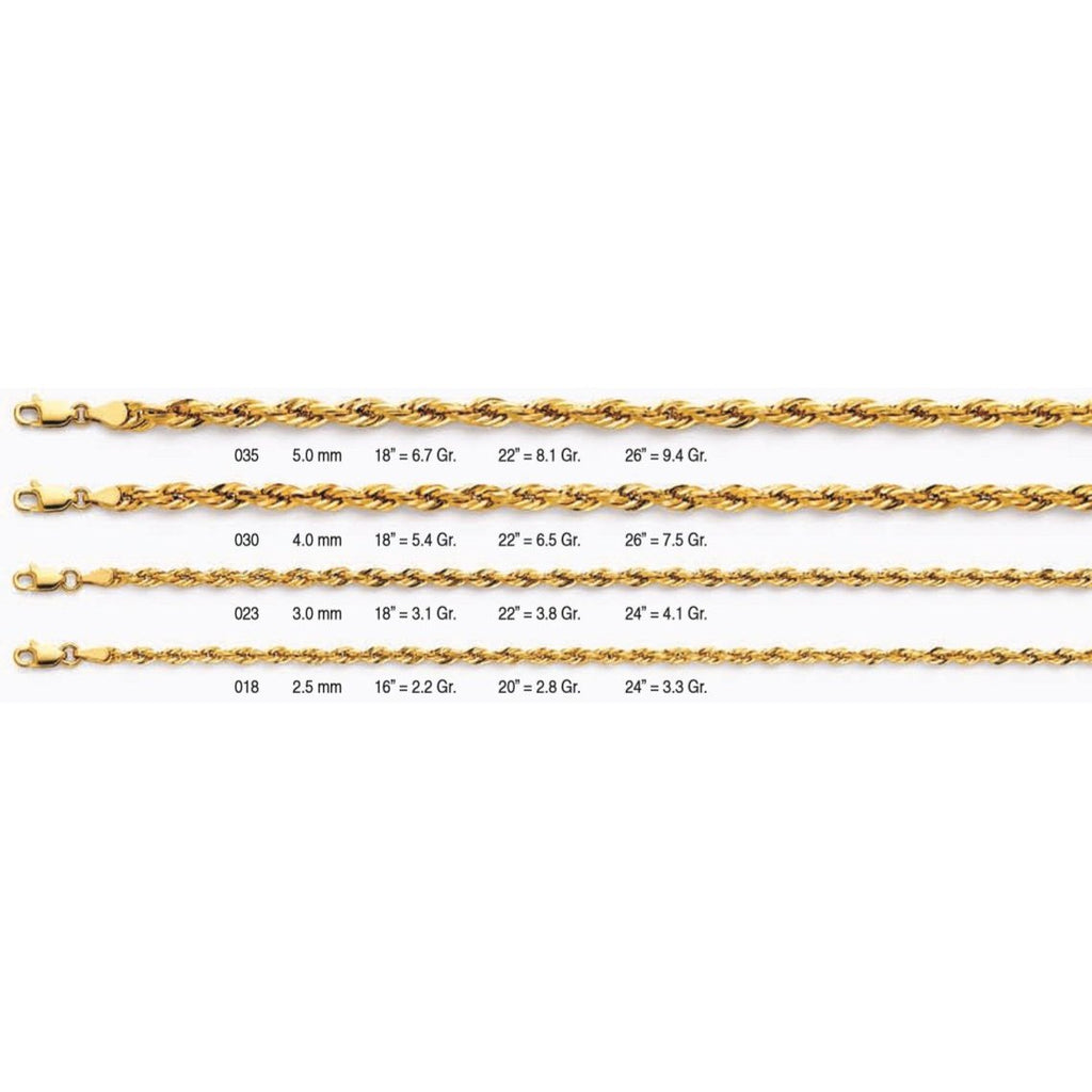 14KT GOLD HOLLOW ROPE CHAIN