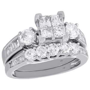 PRINCESSA BRIDAL SET WITH ROUND AND BAGUETTE BAND: TWO CARATS - XSJewelers