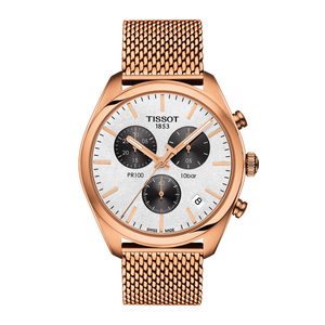 GOLD TONE STEEL PR 100 CHRONOGRAPH WHITE FACE - XSJewelers