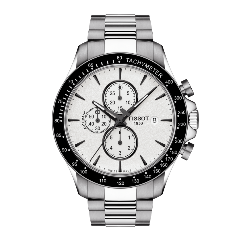 STEEL V8 AUTO CHRONOGRAPH WHITE FACE - XSJewelers